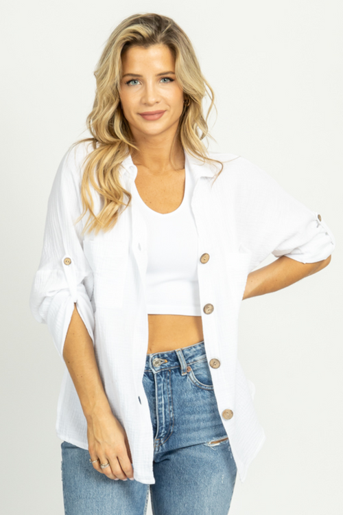 WHITE LINEN SHORTSLEEVE BUTTON DOWN