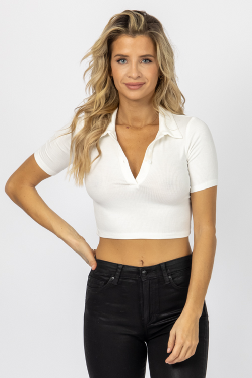 IVORY RIBBED COLLARED CROP