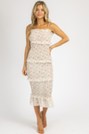 IVORY FLORAL SMOCKED STRAIGHT-NECK MIDI