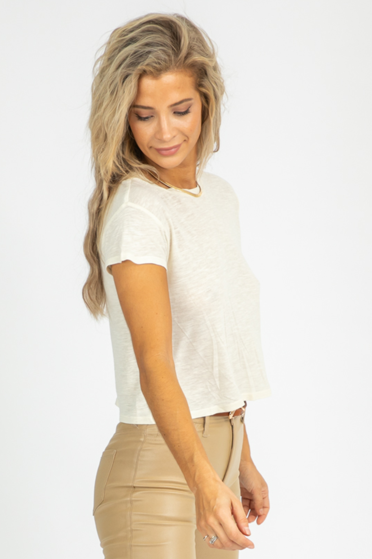 IVORY HEATHER CROP TEE