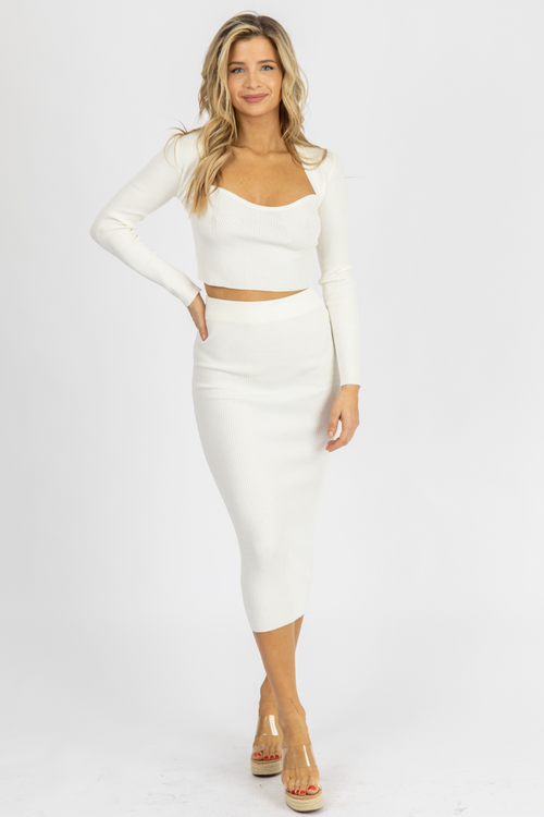 IVORY RIBBED SWEETHEART MIDI SET