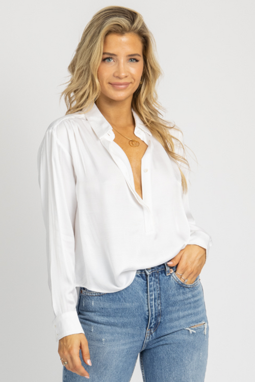 WHITE SATIN COLLARED BUTTON BLOUSE