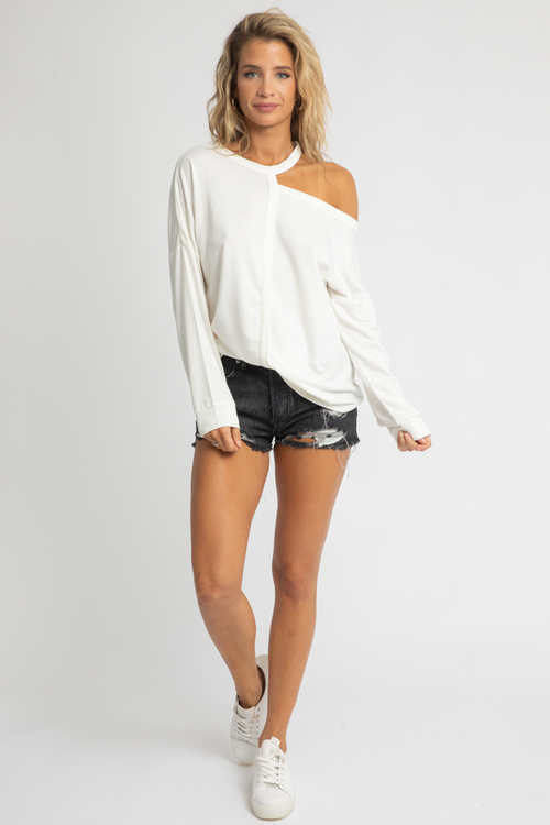 WHITE SHOULDER CUTOUT PULLOVER
