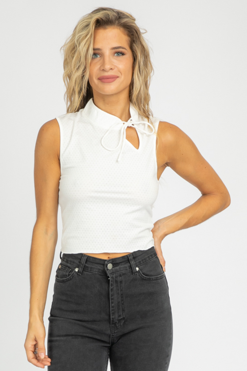 IVORY TIE NECK SLEEVELESS TOP