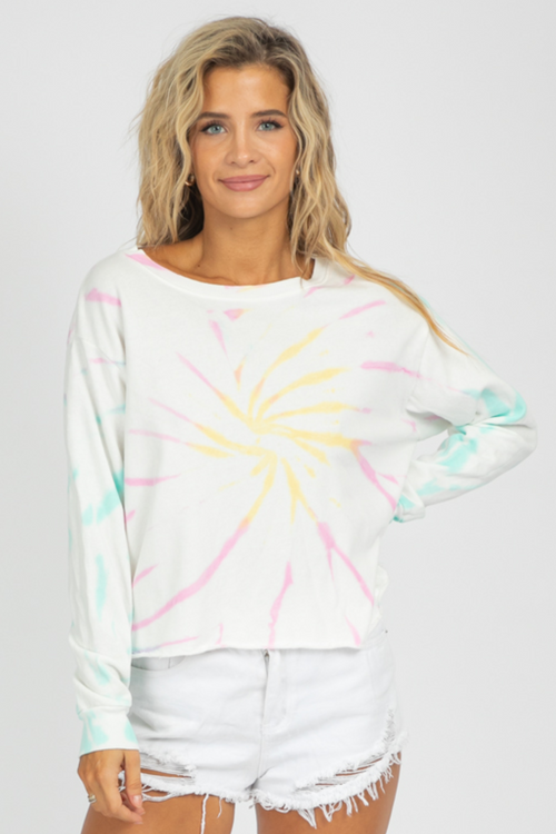 IVORY TIE-DYE DROP SHOULDER SWEATSHIRT