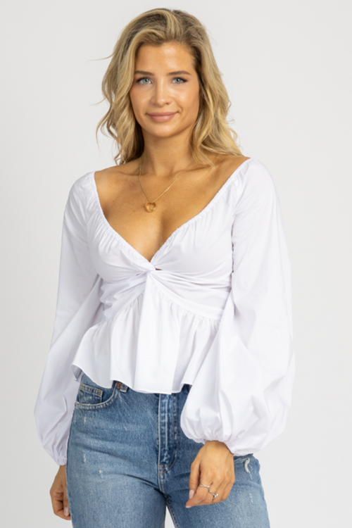 WHITE OFF SHOULDER SWEETHEART BLOUSE