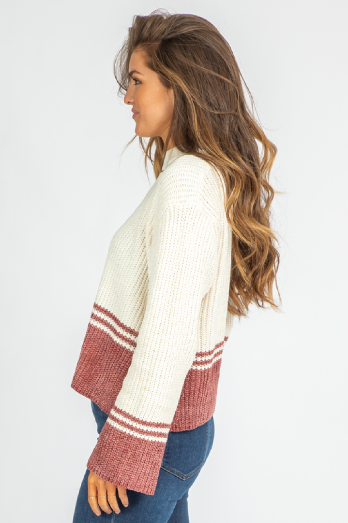 IVORY + BRICK KNIT SWEATER