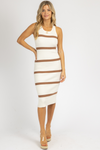 IVORY + CAMEL STRIPED KNIT MIDI DRESS *RESTOCK COMING SOON*