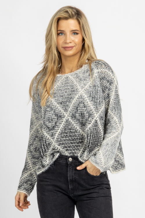 IVORY + CHARCOAL OMBRE PATCHWORK KNIT