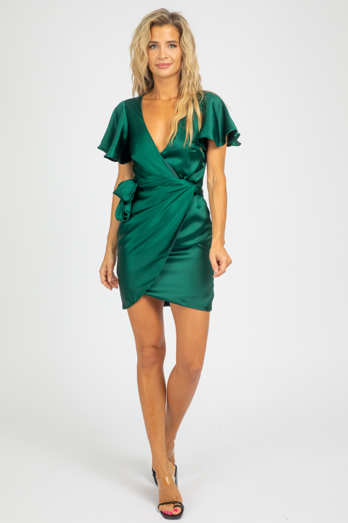 JADE SATIN WRAP MINI DRESS