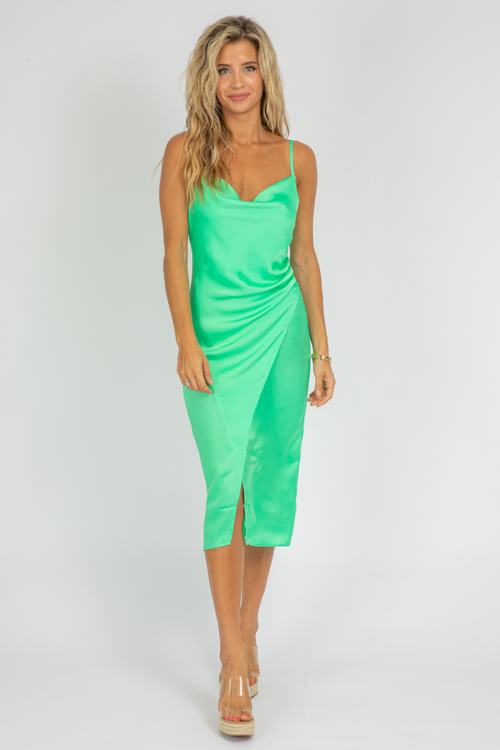 KEY LIME SLIP MIDI DRESS
