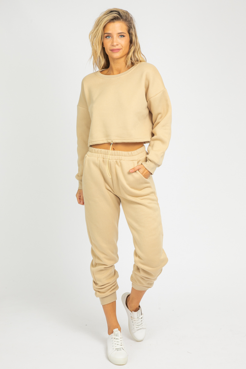 KHAKI FRENCH TERRY JOGGER SET