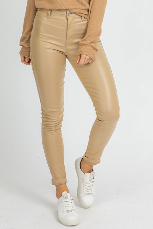 KHAKI LEATHER PANTS