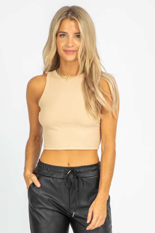 KHAKI RIBBED HIGH-NECK TANK