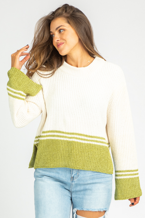 IVORY + KIWI KNIT SWEATER