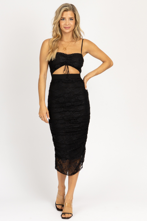 BLACK LACE SHIRRING MIDI DRESS