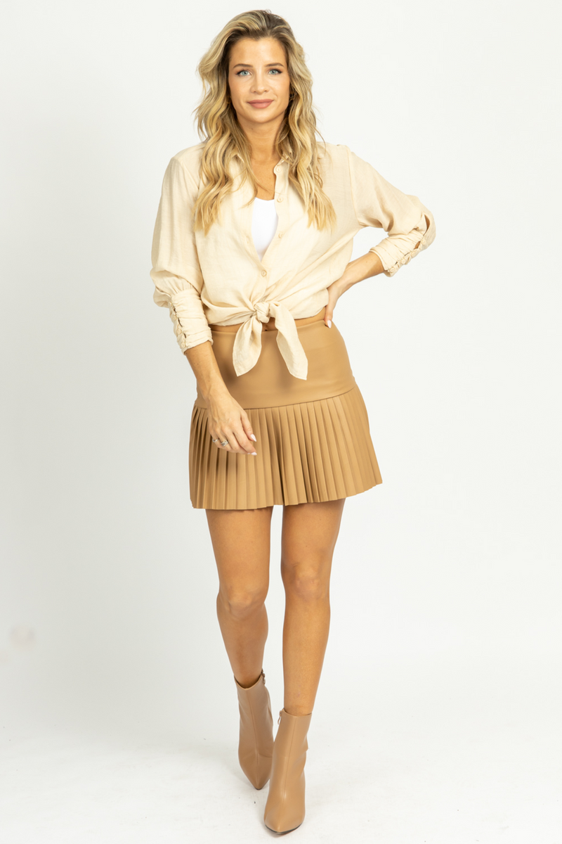 CAMEL PLEATED MINI SKIRT