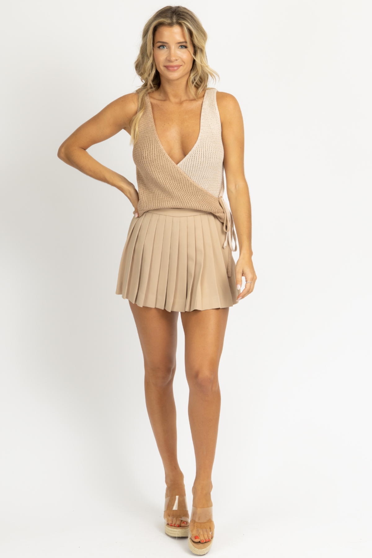 LATTE PLEATED MINI SKORT *BACK IN STOCK*