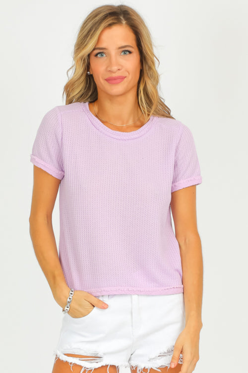 LAVENDER BACK BUTTON TOP