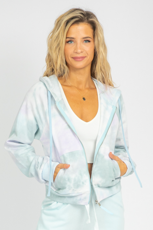 LILAC + BLUE ZIPPERED HOODIE