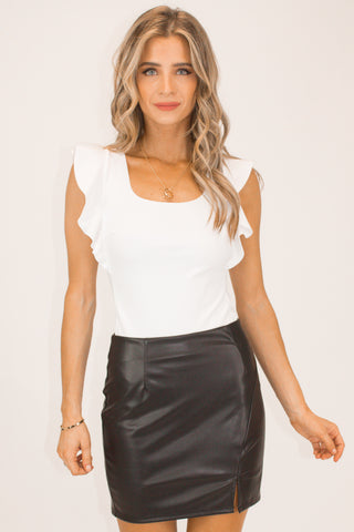 BLACK SIDE SLIT SKORT