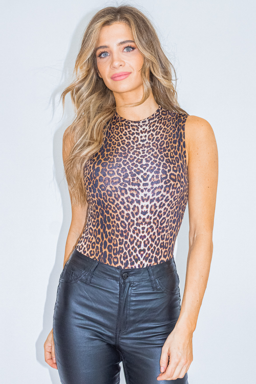 LEOPARD SLEEVELESS BODYSUIT