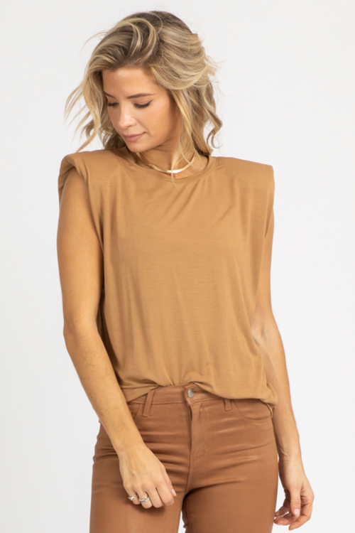 LIGHT MOCHA SLEEVELESS SHOULDER PAD TOP