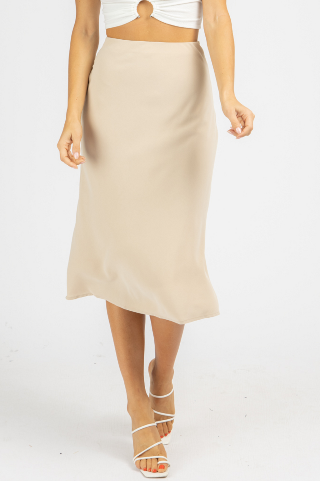 TAUPE LINED HIGH RISE MIDI SKIRT