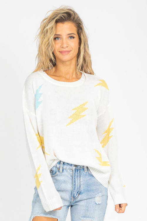 BLUE + YELLOW BOLT SWEATER