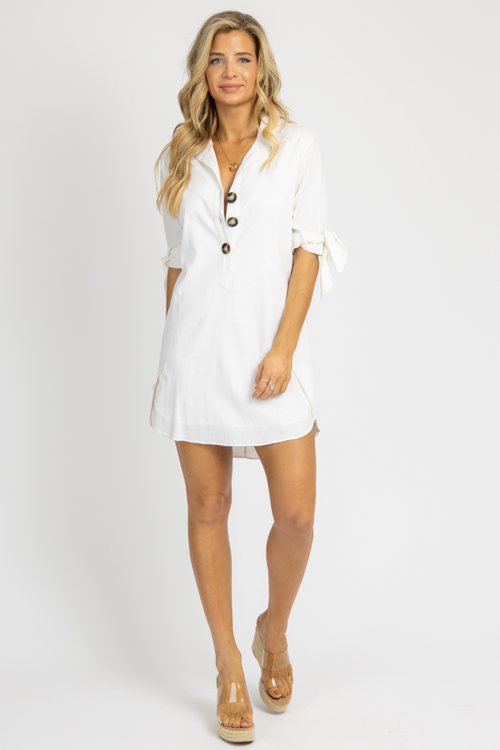 WHITE LINEN TIE SLEEVE DRESS