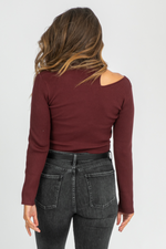 WINE LONGSLEEVE OPEN-NECK KNIT