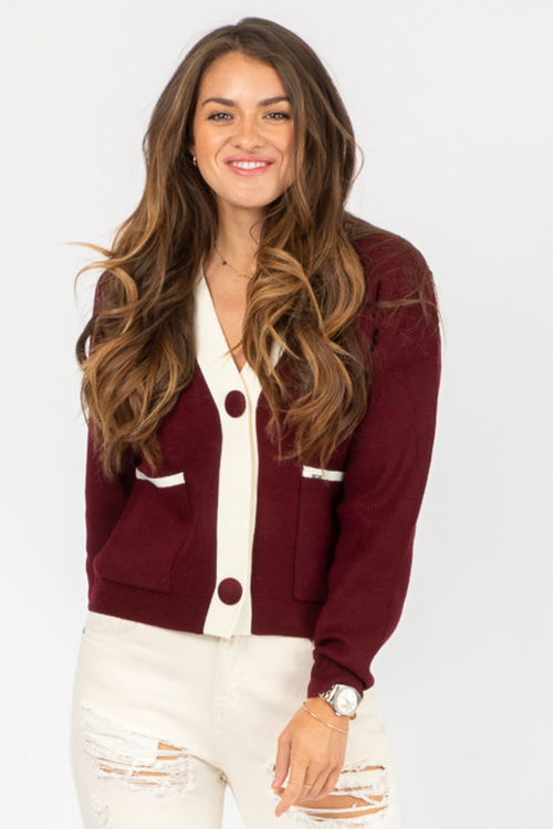 MAROON + IVORY POCKET CARDIGAN