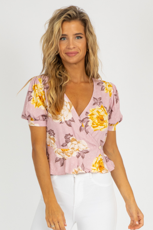 MAUVE FLORAL SURPLICE TOP