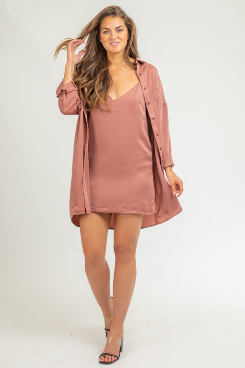 MAUVE DRESS SILKY SHIRT SET