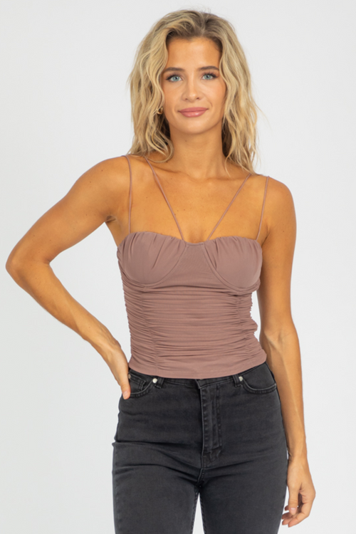 MAUVE RUCHED STRAPPY TANK
