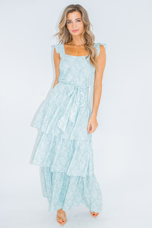 MINT TIERED RUFFLE MAXI