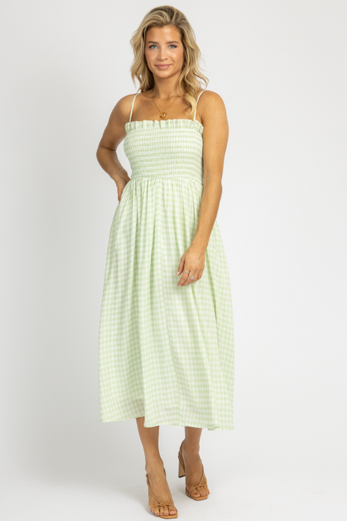MINT GINGHAM OPEN BACK MIDI DRESS