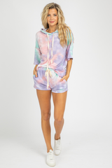 MINT TIE DYE HOODED SET