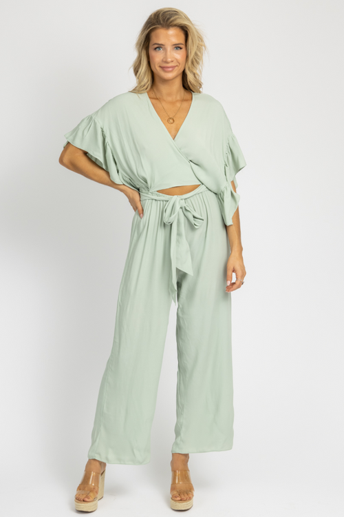 MINT WAIST-TIE CUTOUT JUMPSUIT