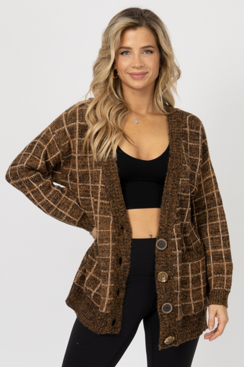 MOCHA PLAID BUTTON CARDIGAN