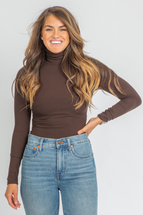 MOCHA RIBBED LONG SLEEVE BODYSUIT