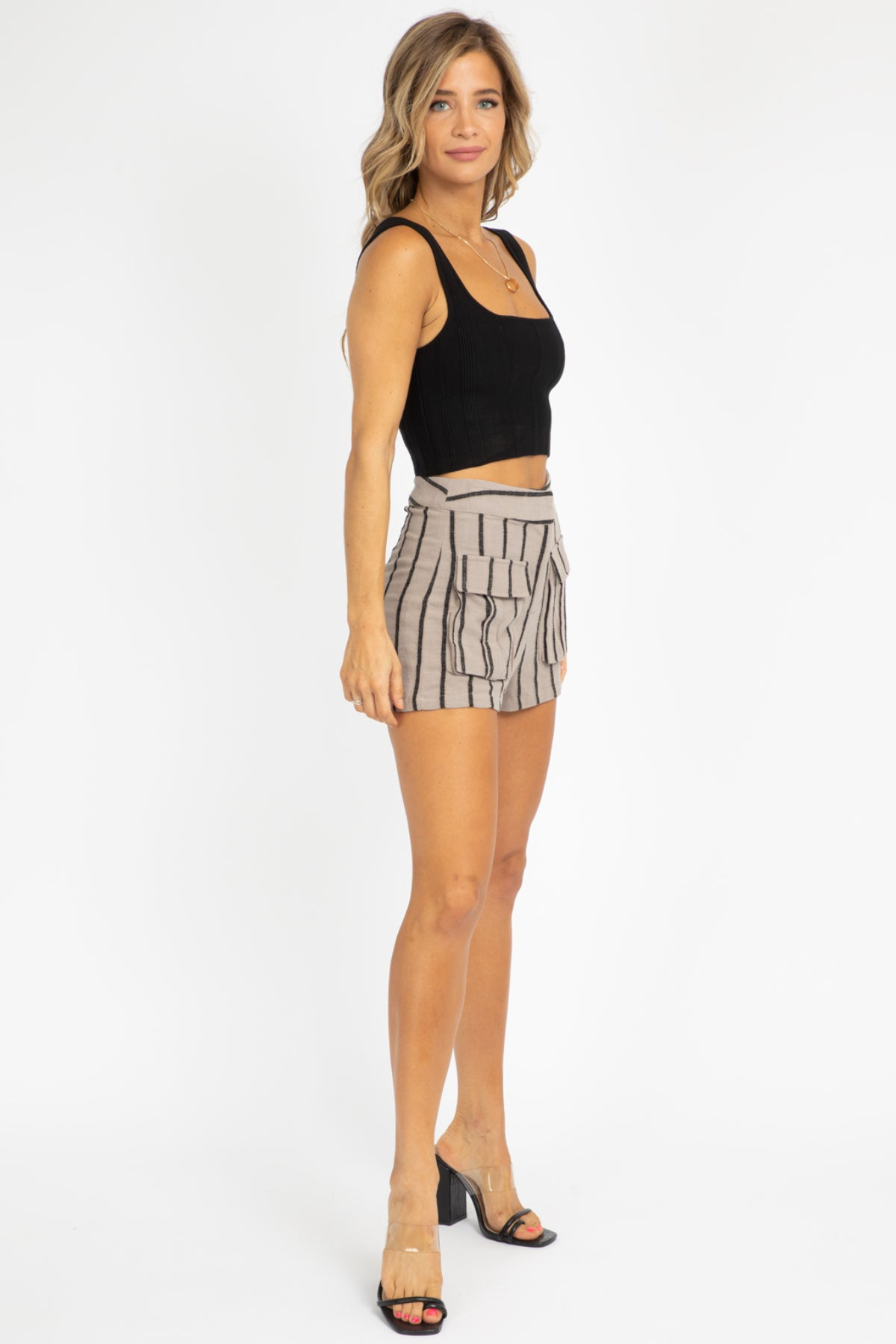 MOCHA STRIPED SHORTS