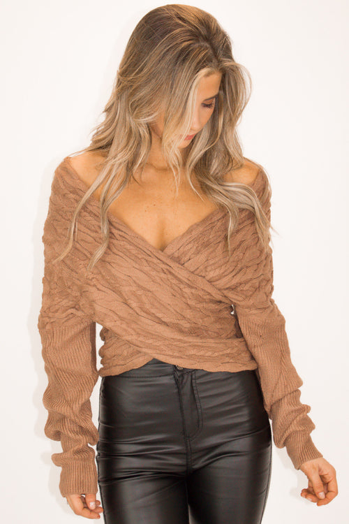 CABLE KNIT WRAP SWEATER IN MOCHA