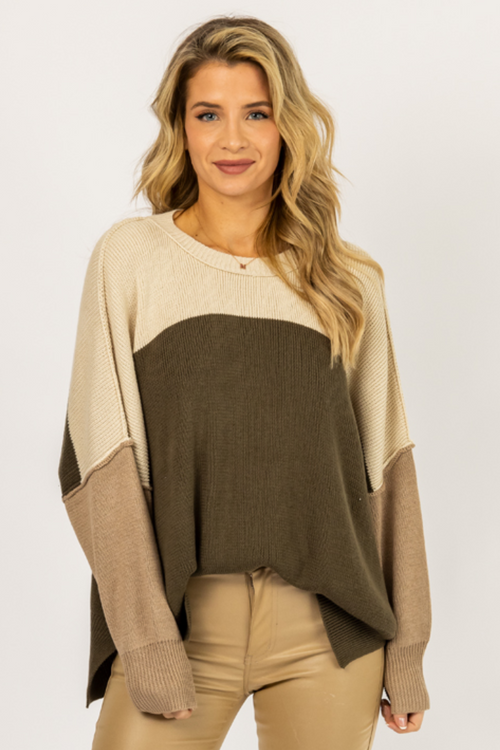 CREAM + OLIVE CONTRAST KNIT SWEATER