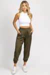 MOSS GREEN SATIN PLEATED JOGGERS