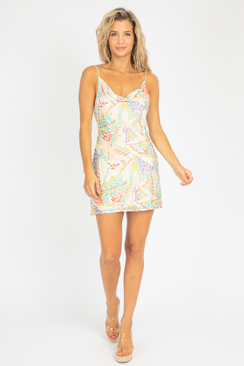 MULTICOLOR PILE COATING MINI DRESS