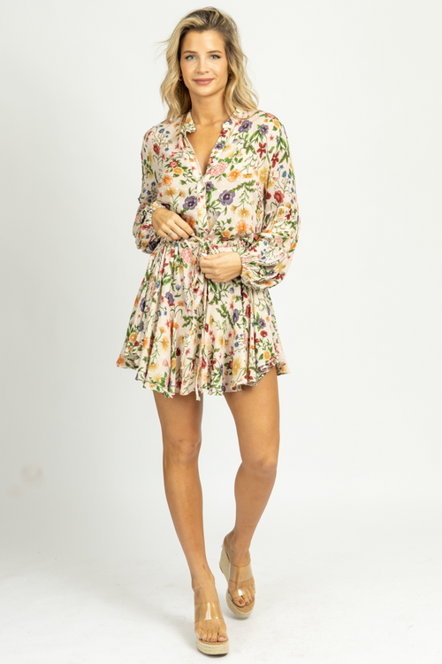 MULTI-FLORAL DRAWSTRING WAIST MINI DRESS