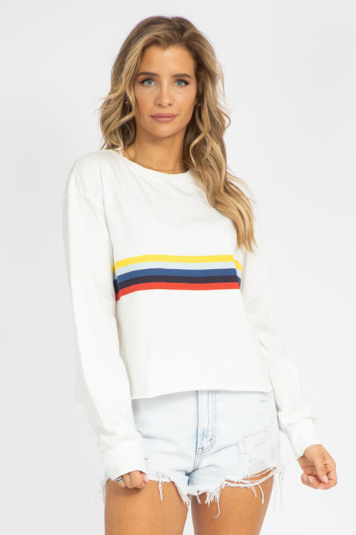 WHITE MULTI-STRIPE LONG SLEEVE TEE