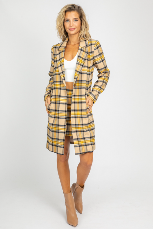 TAUPE + MUSTARD PLAID COAT
