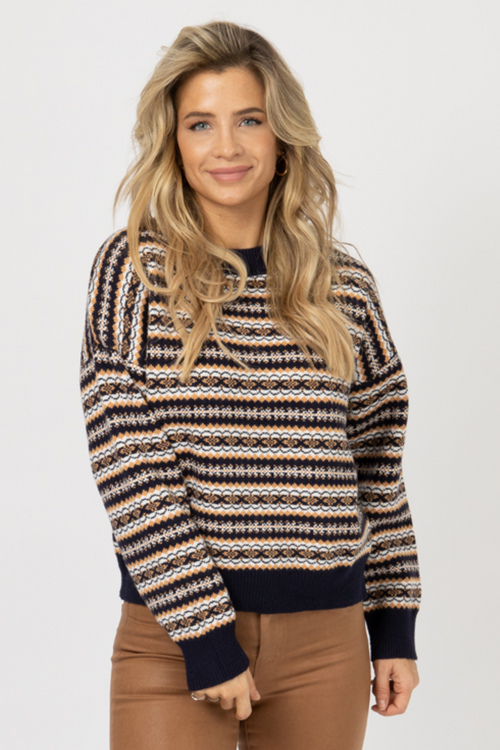 NAVY MIXED PRINT KNIT